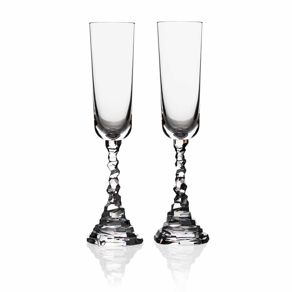 Michael Aram, Rock Champagne Crystal Flute, Pair