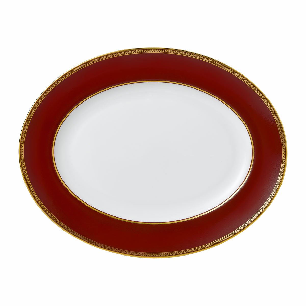 "Wedgwood Renaissance Red Oval Platter 13.8"""