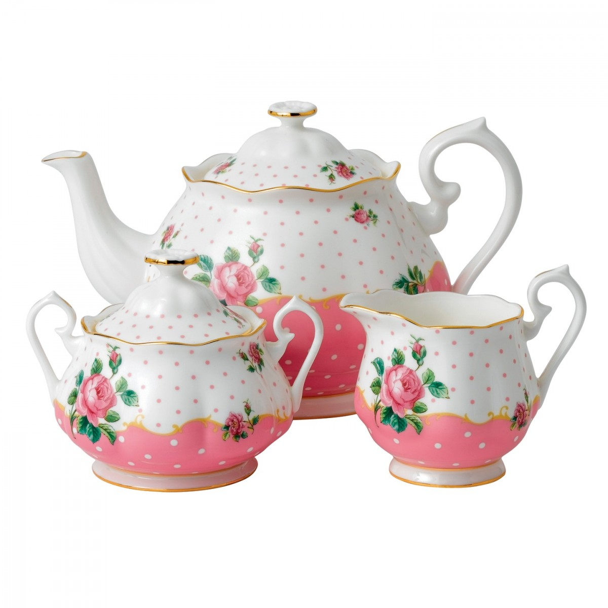 Royal Albert China New Country Roses Cheeky Pink Tea Party 3-Piece Set