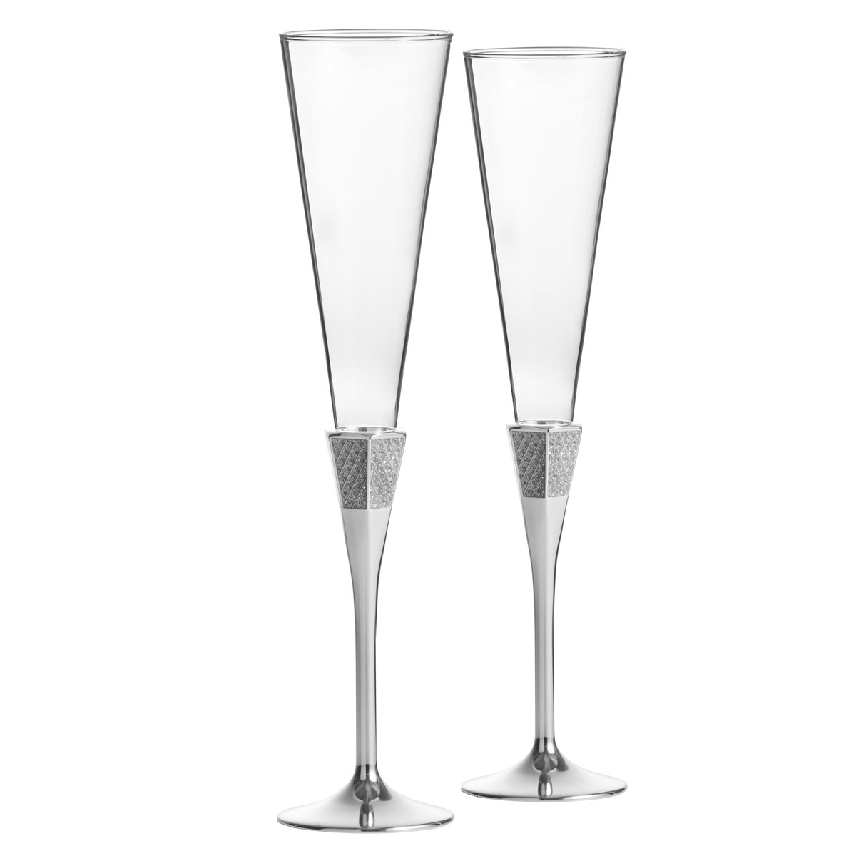 Waterford Lismore Diamond Silver Toasting Crystal Flutes, Pair