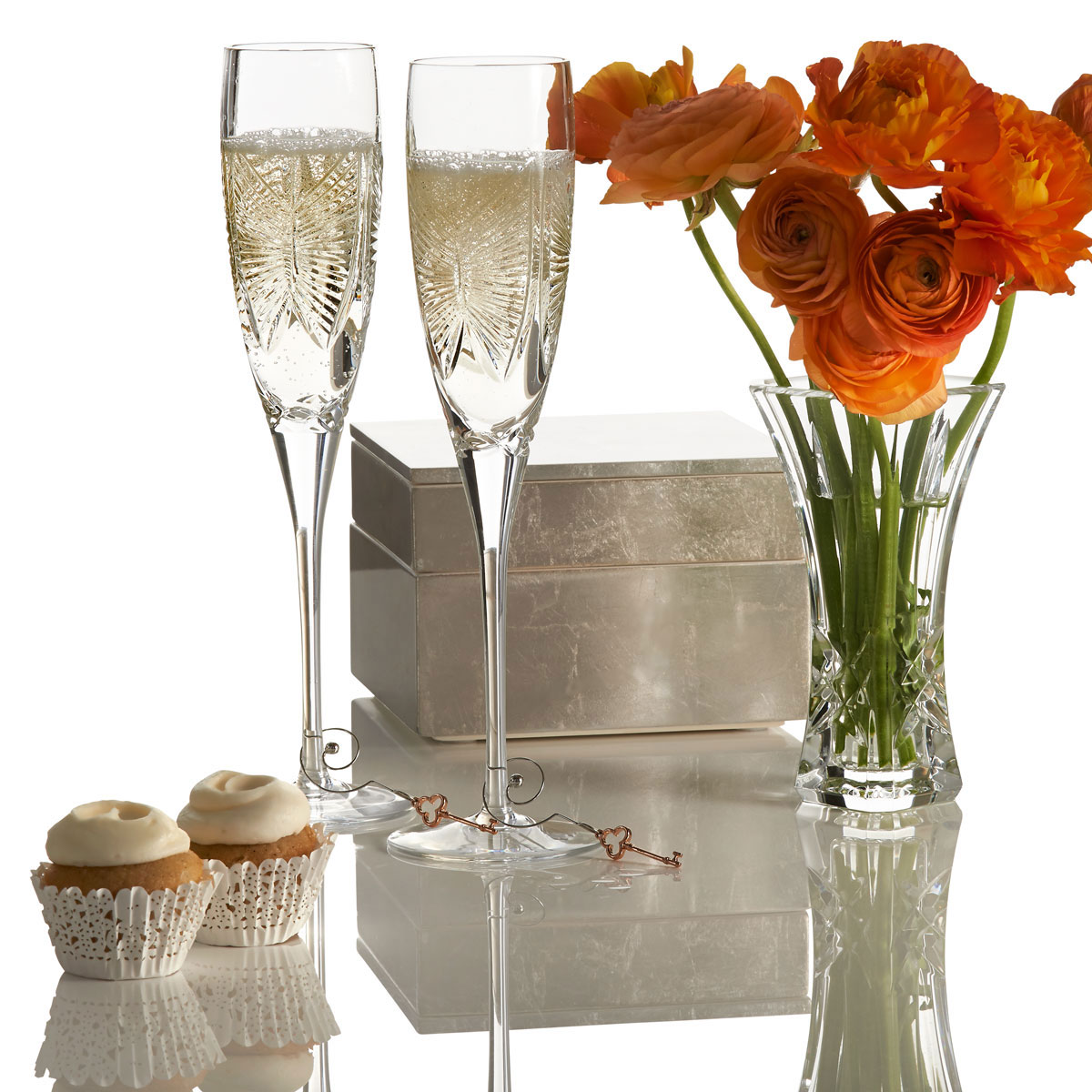 Waterford Love Happiness Crystal Flutes, Pair