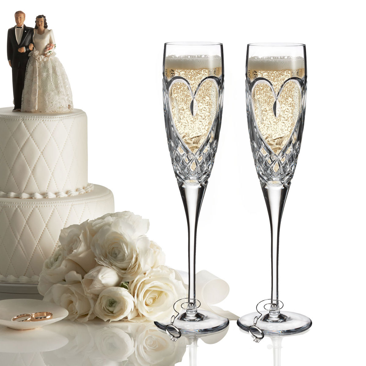 Waterford Crystal, True Love Crystal Champagne Flutes, Pair
