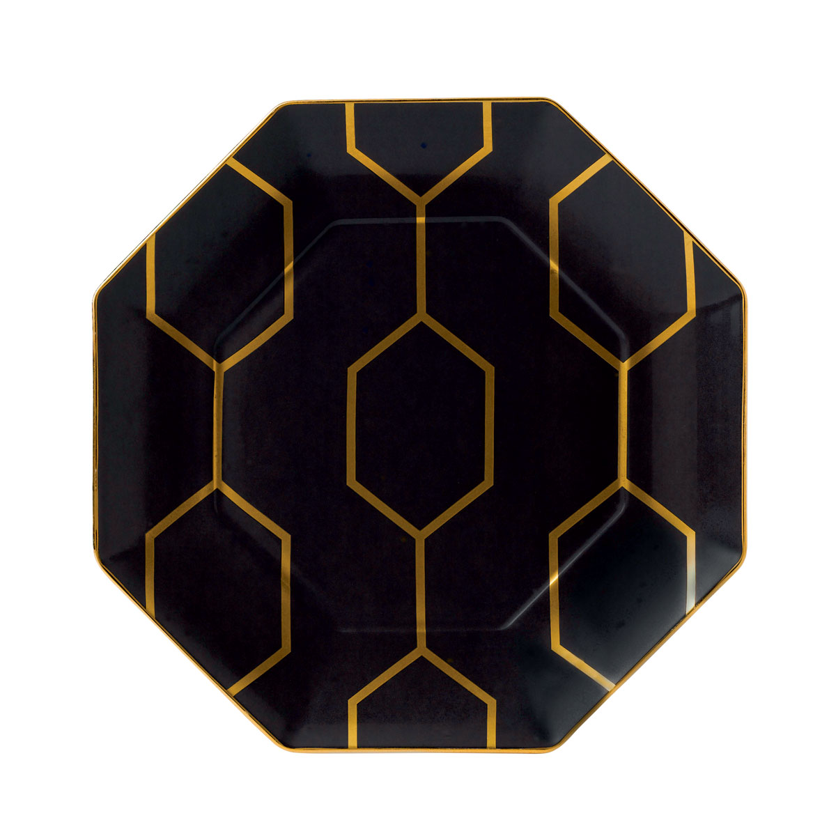 """Wedgwood Arris Accent Plate Octagonal 9.1"""" Charcoal"""