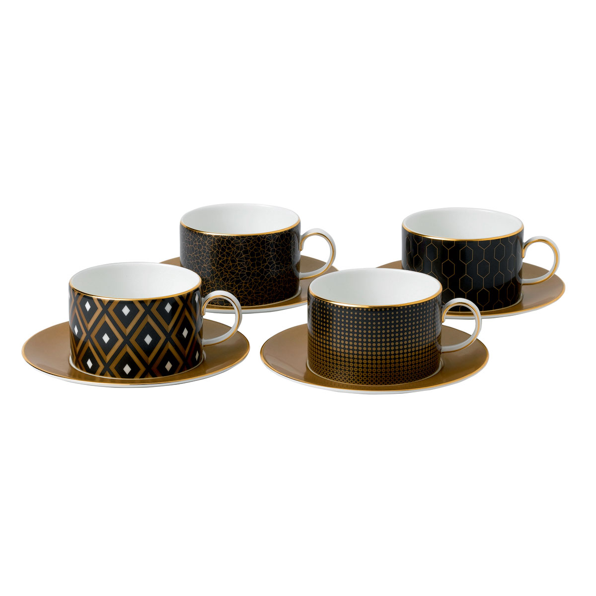 Wedgwood Arris Accent Teacup and Saucer Set of 4