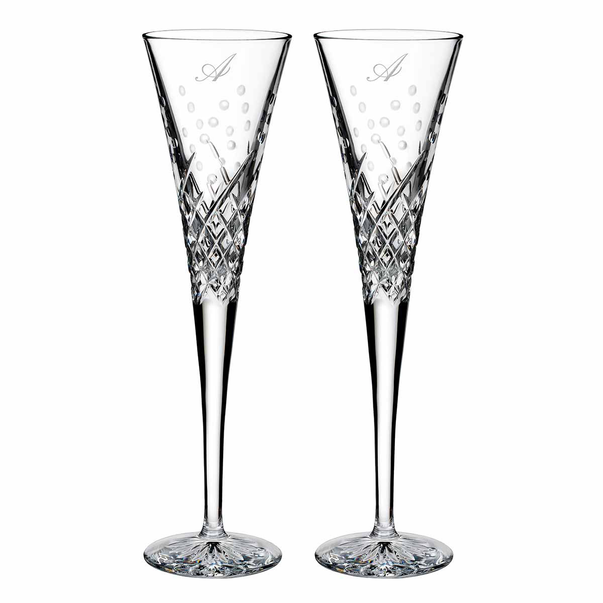 Waterford Crystal, Wishes Happy Celebrations Crystal Flutes, Pair, Monogram Script A