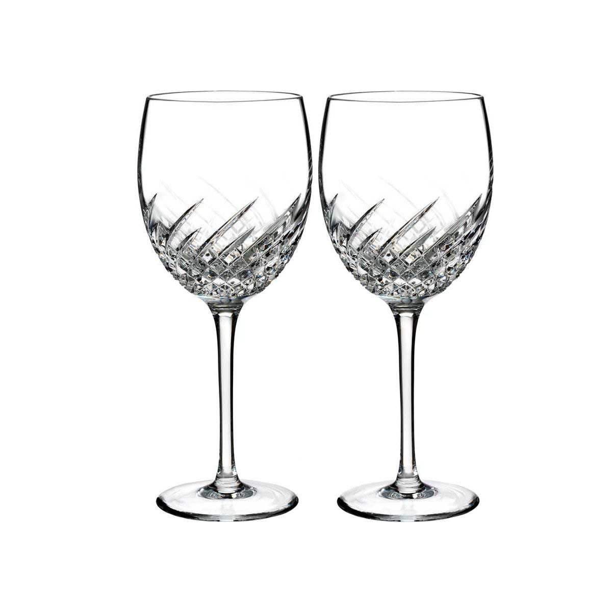 Waterford Crystal, Essentially Wave Crystal Goblet, Pair