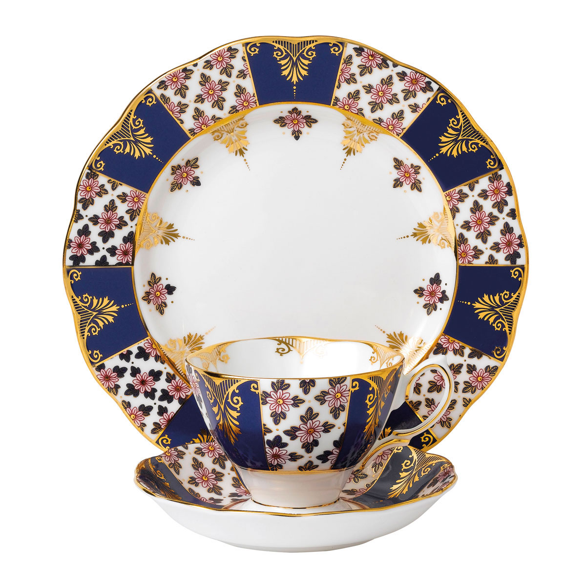 """Royal Albert 100 Years 1900 Teacup, Saucer and 8"""" Plate Setregency Blue"""