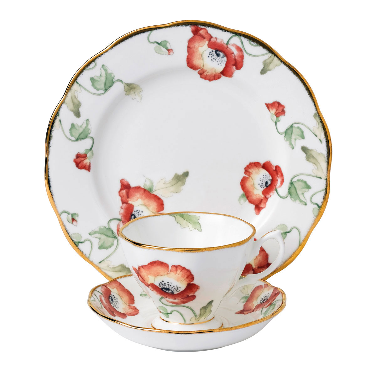 """Royal Albert 100 Years 1970 Teacup, Saucer and 8"""" Plate Set Poppy"""
