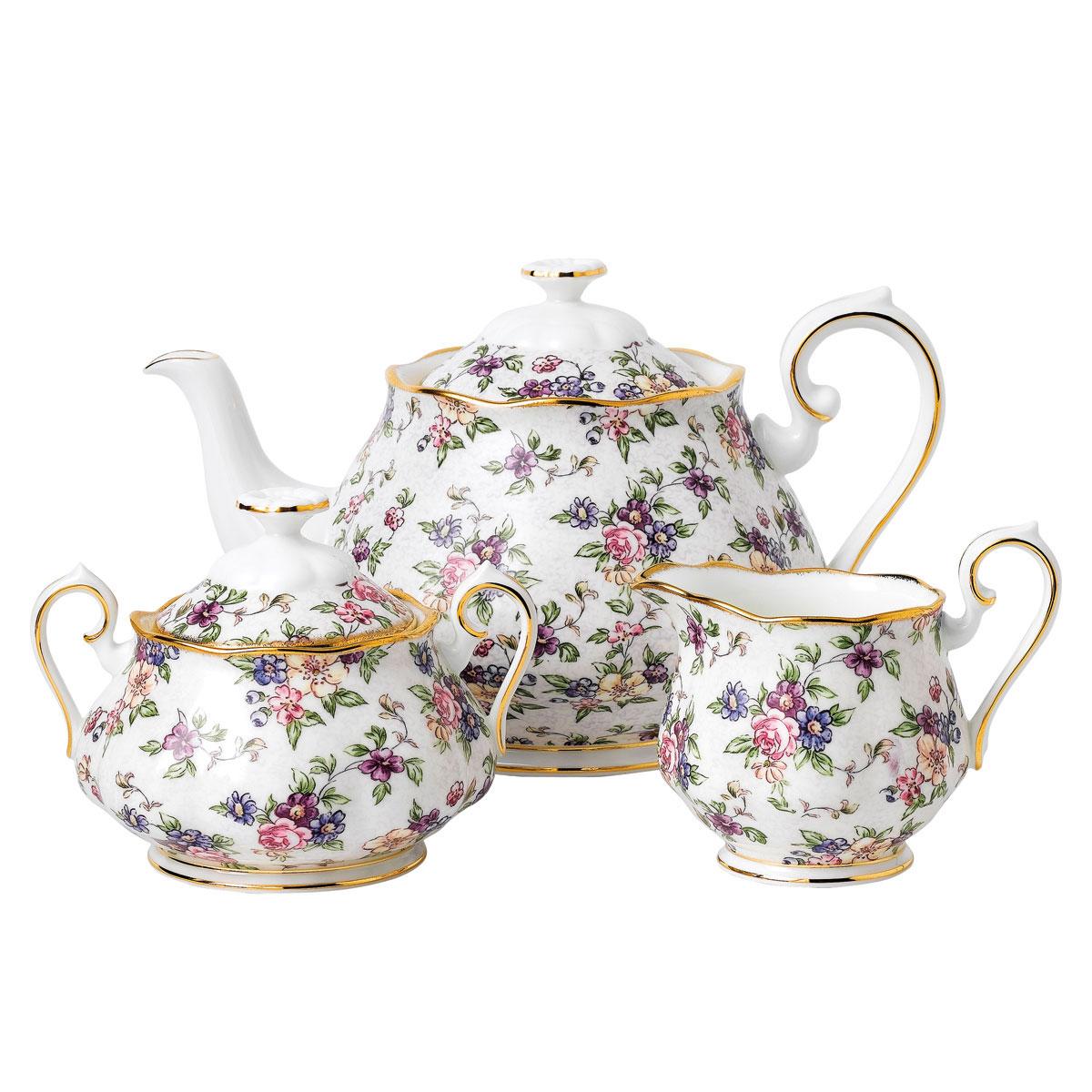 Royal Albert 100 Years 1940 Teapot, Sugar and Creamer Setenglish Chintz