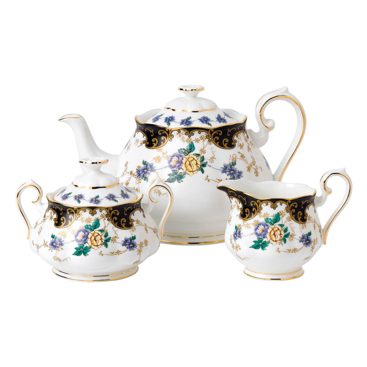 Royal Albert 100 Years 1910 Teapot, Sugar and Creamer Set Duchess