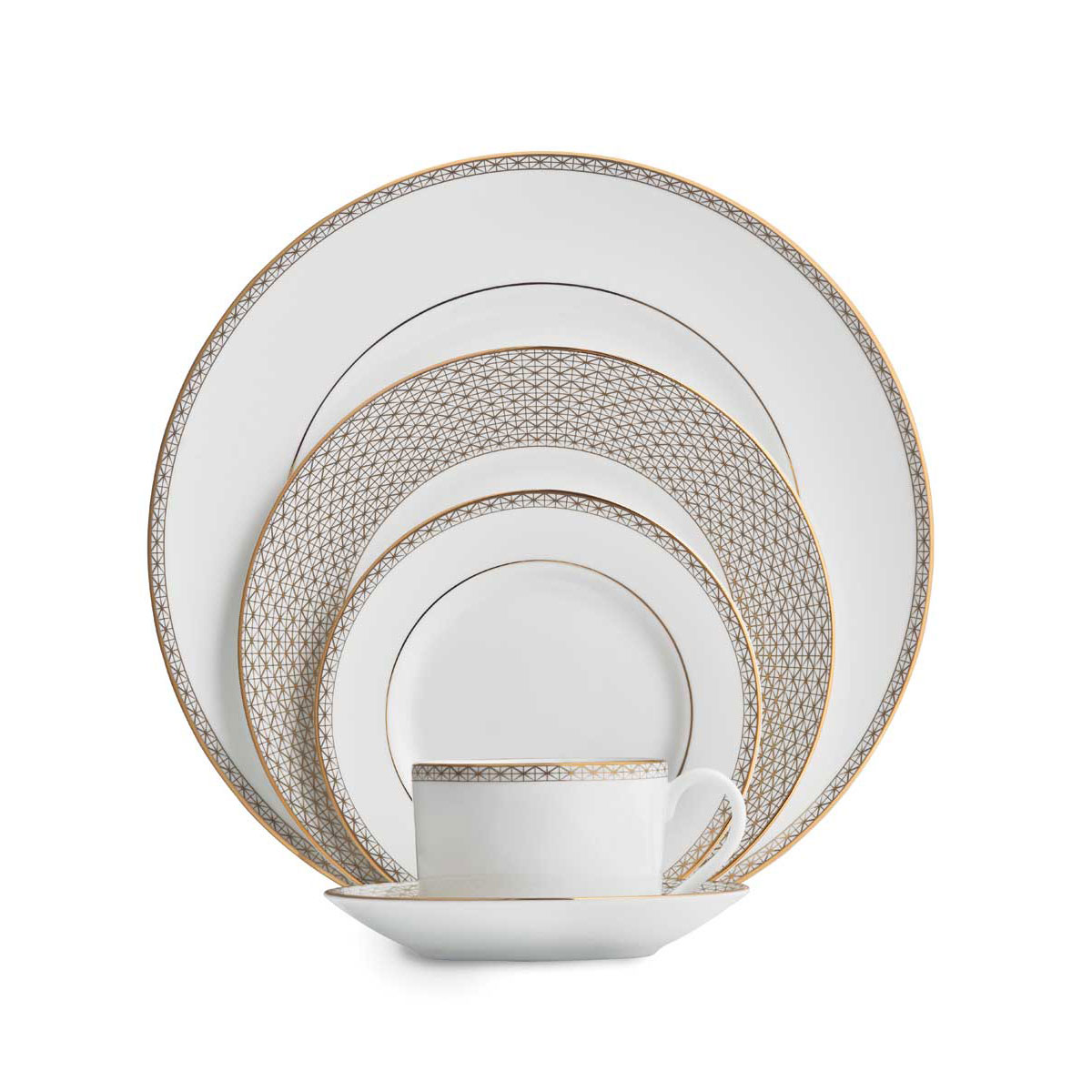 Waterford China Lismore Diamond Gold, 5 Piece Place Setting