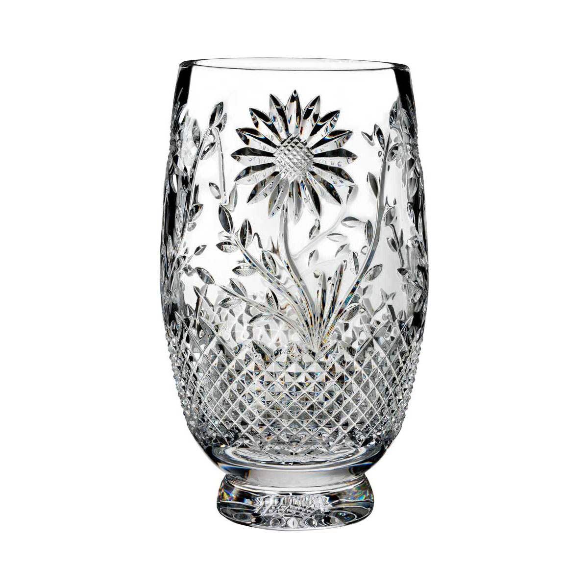 """Waterford Crystal, House of Waterford Sunflower 10"""" Crystal Vase"""