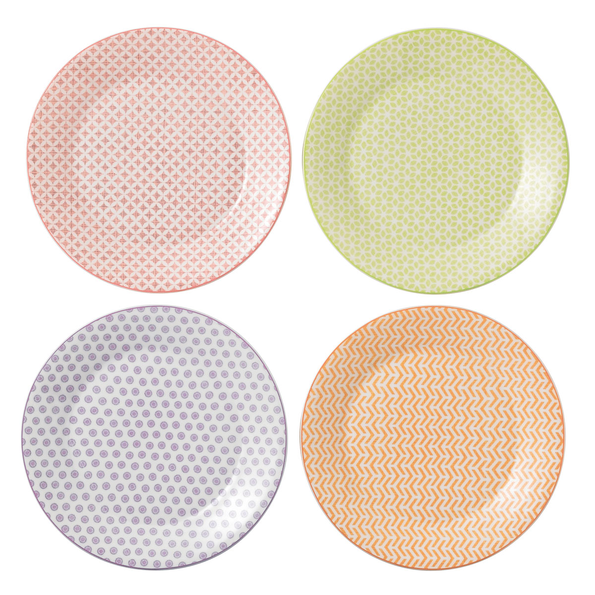 "Royal Doulton Pastels Accent Plates 9"" Set of 4 Mixed Patterns"