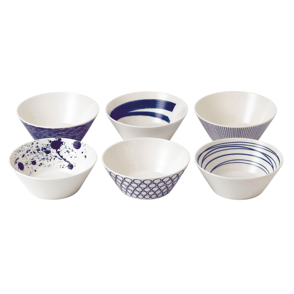 """Royal Doulton Pacific Mixed Patterns Bowl 6.2"""" Set of 6"""