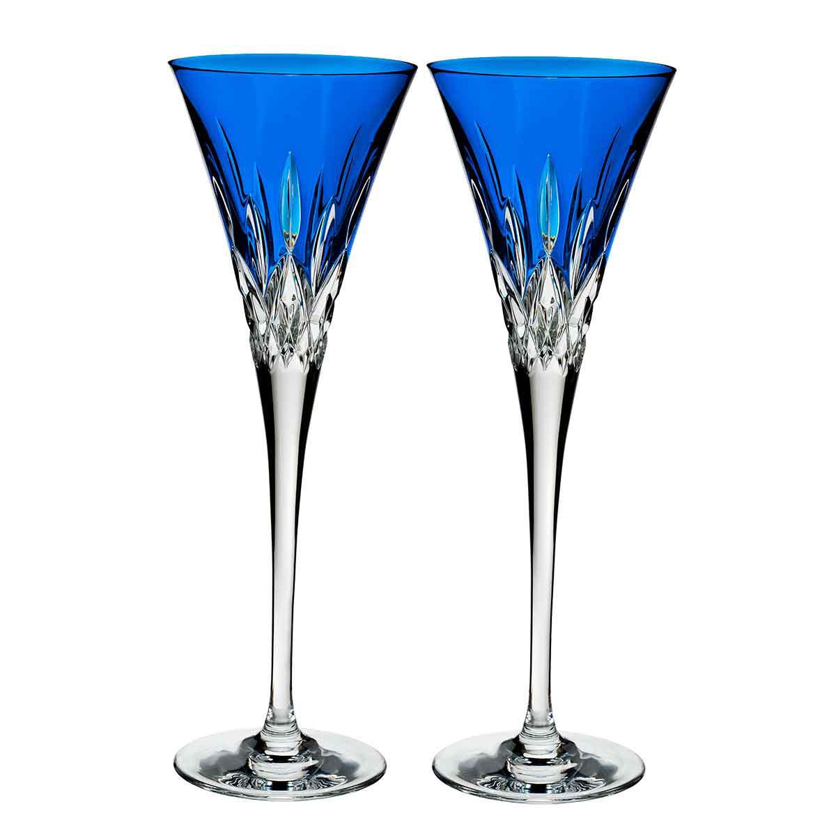 Waterford Crystal, Lismore Pops Cobalt Toasting Crystal Flutes, Pair