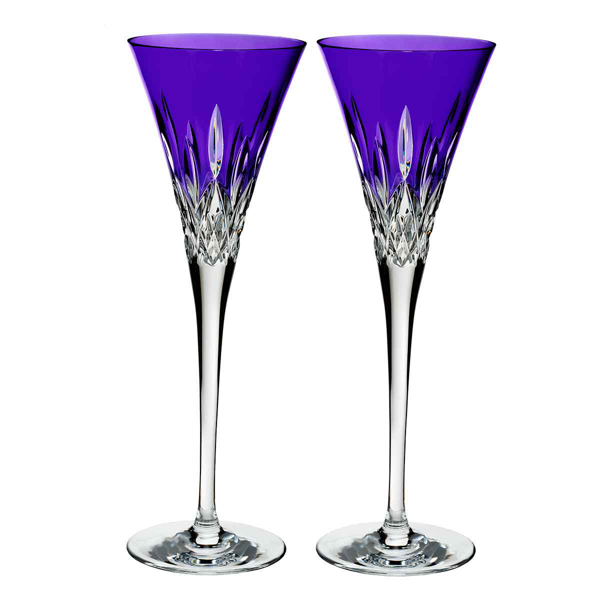 Waterford Crystal, Lismore Pops Purple Toasting Crystal Flutes, Pair