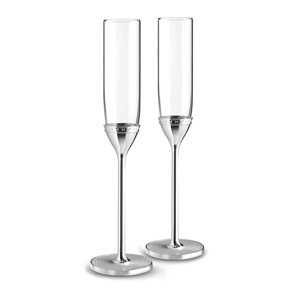 Vera Wang Wedgwood With Love Nouveau Toasting Flutes Pair, Silver