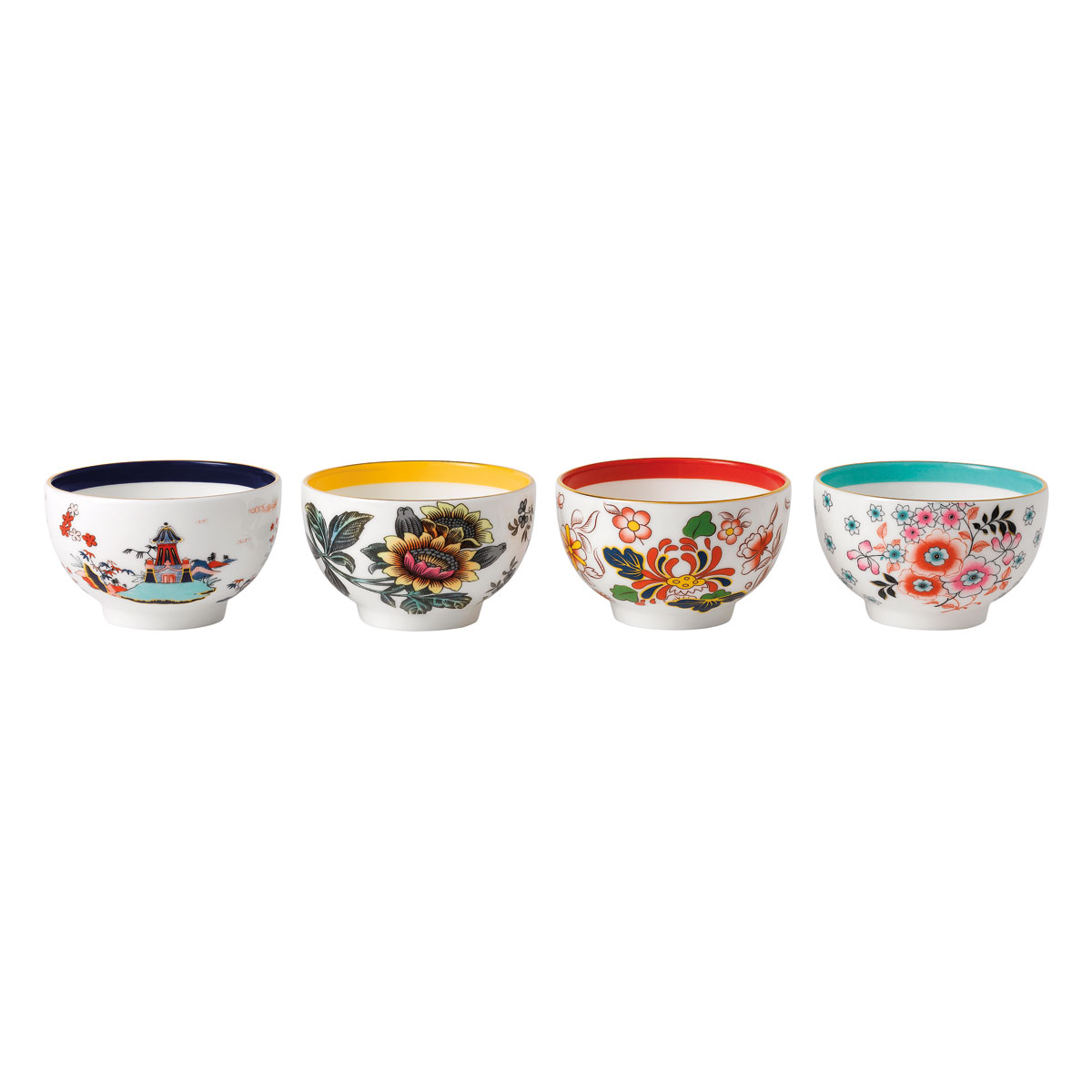 Wedgwood Wonderlust Fine Bone China Tea Bowl, Set of 4, Blue Pagoda, Camellia, Crimson Jewel and Yellow Tonqui