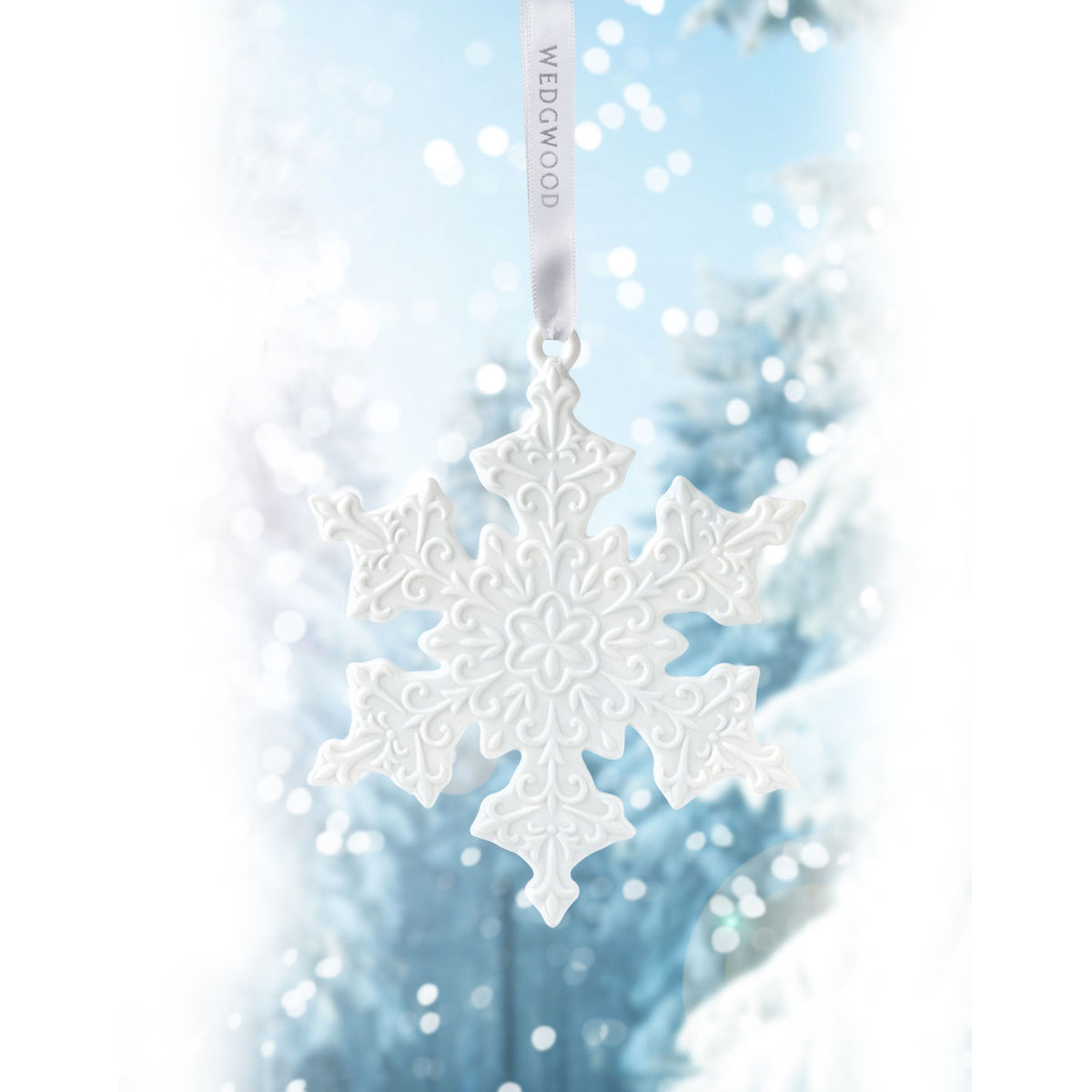 Wedgwood 2019 White Snowflake Ornament