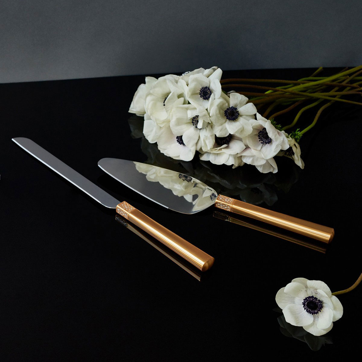 Waterford Lismore Diamond Gold Cake Knife and Server
