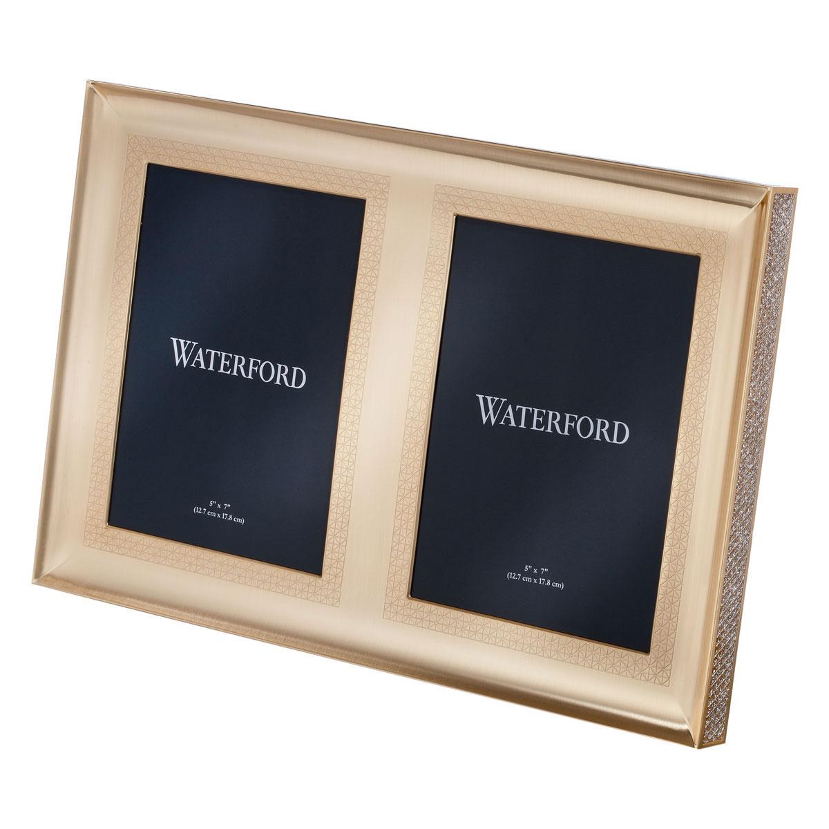 "Waterford Lismore Diamond Gold 5x7"" Double Invitation Frame"