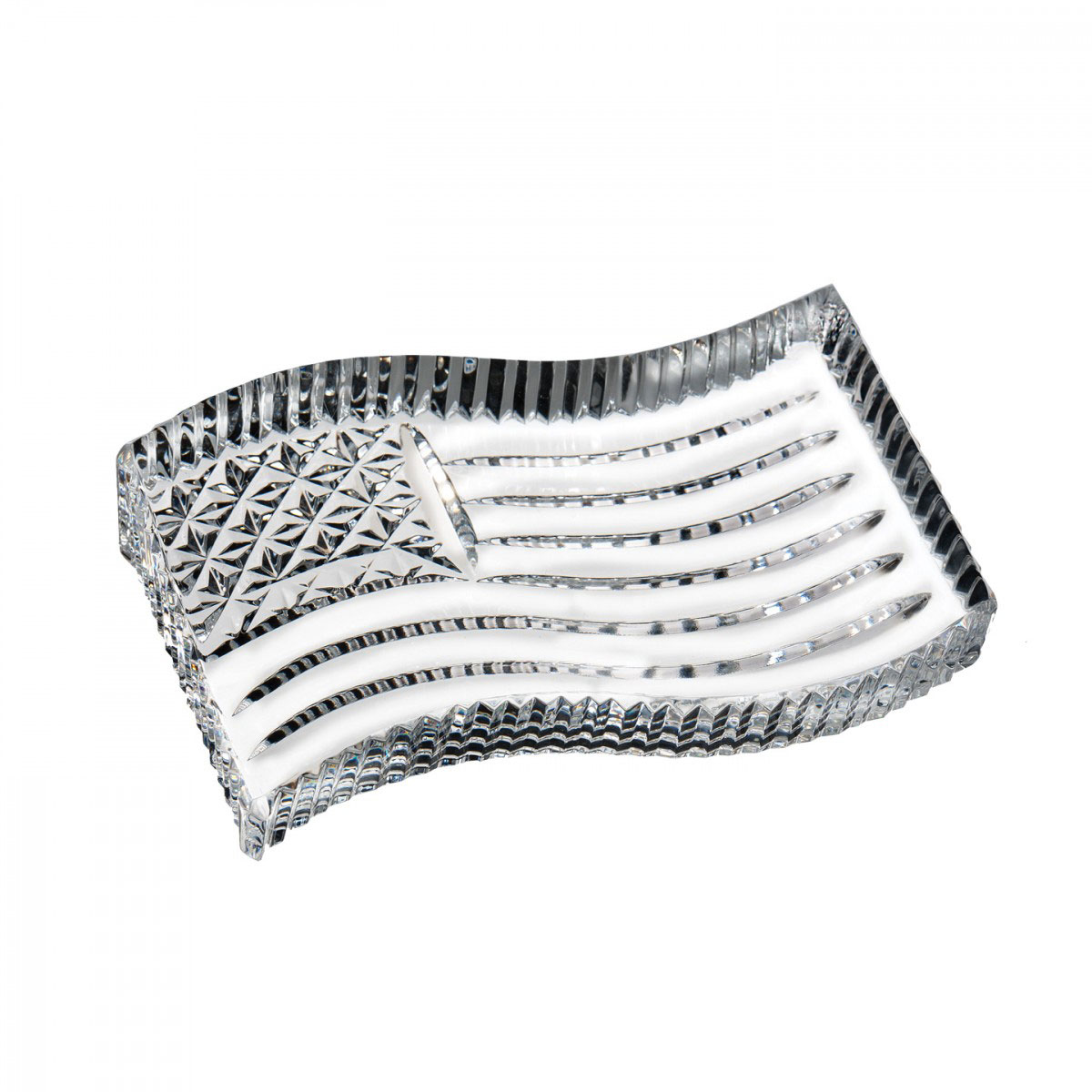 Waterford Crystal, American Flag Crystal Paperweight