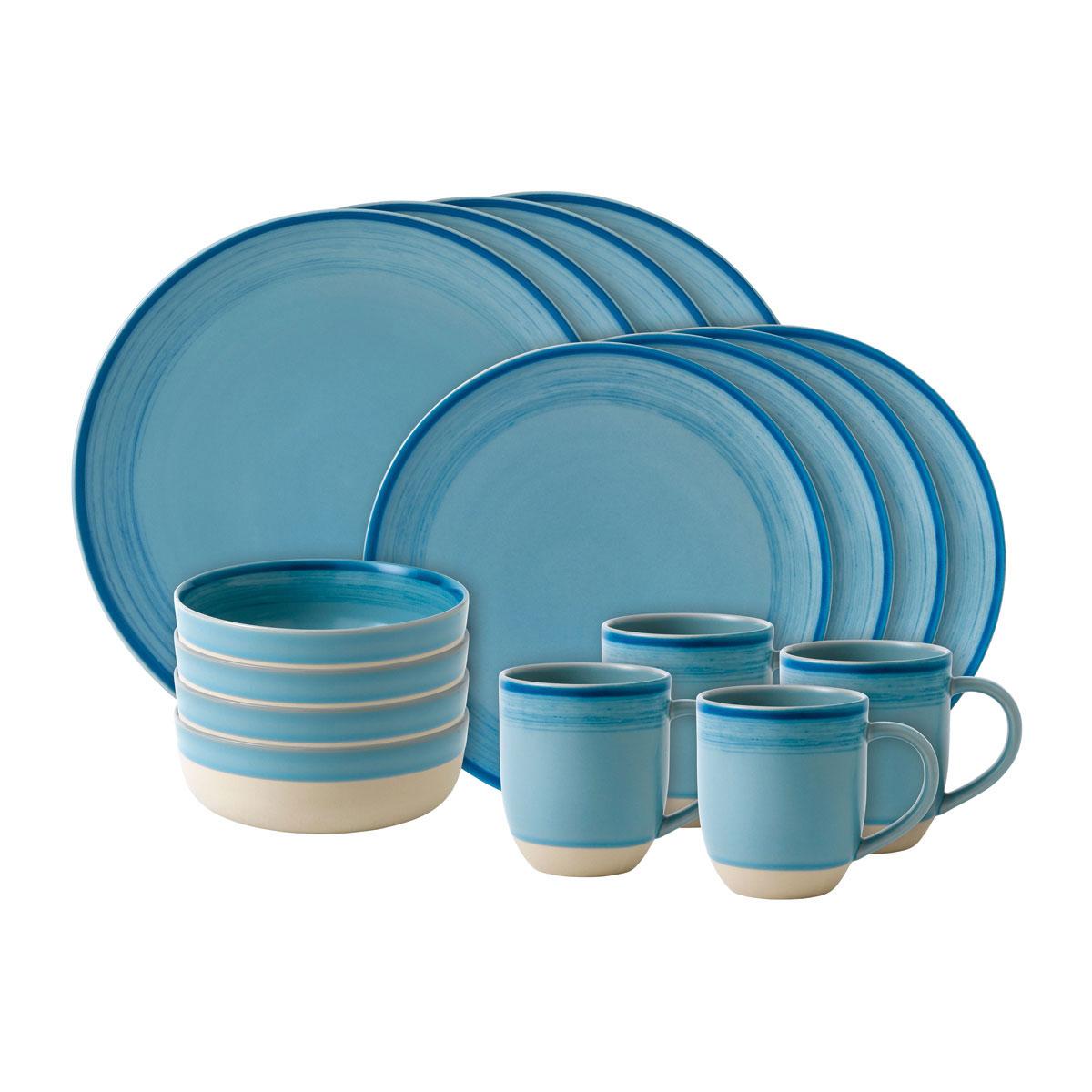 ED Ellen DeGeneres by Royal Doulton Polar Blue Brushed Glaze 16 Piece Set