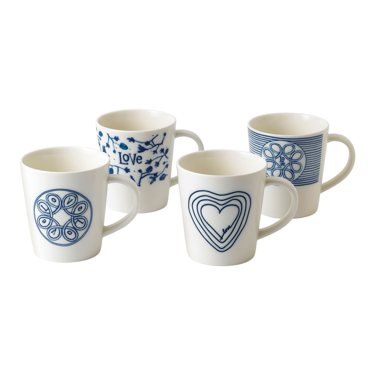 ED Ellen DeGeneres by Royal Doulton Blue Love Mug Set of 4 Mixed