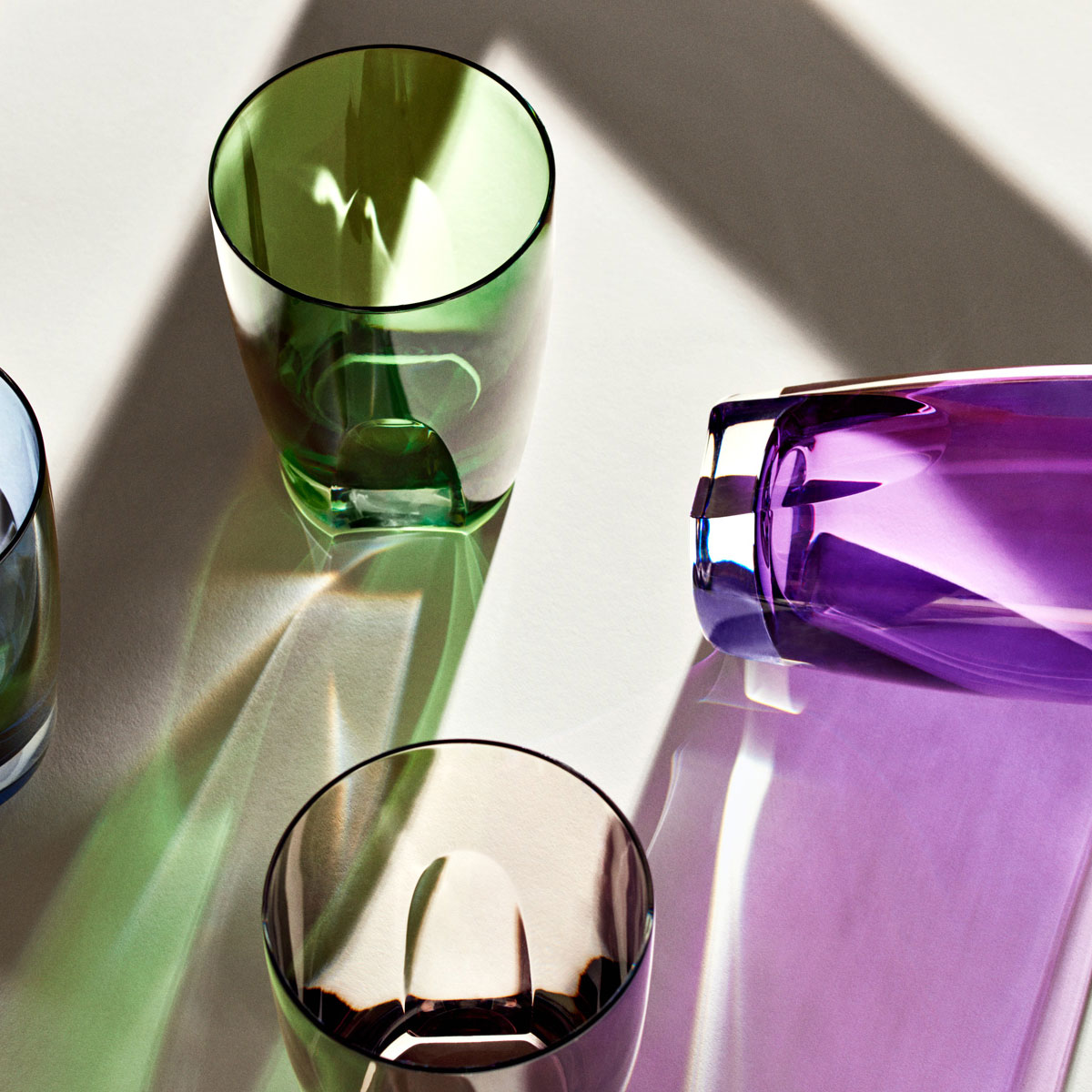 Waterford Crystal, W Mixed Colors Crystal DOF Tumblers, Set of Four