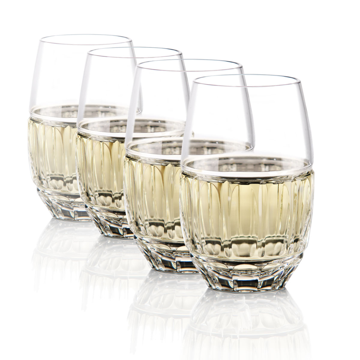 Waterford Bolton Stemless Crystal White Wine Glasses, Set of Four
