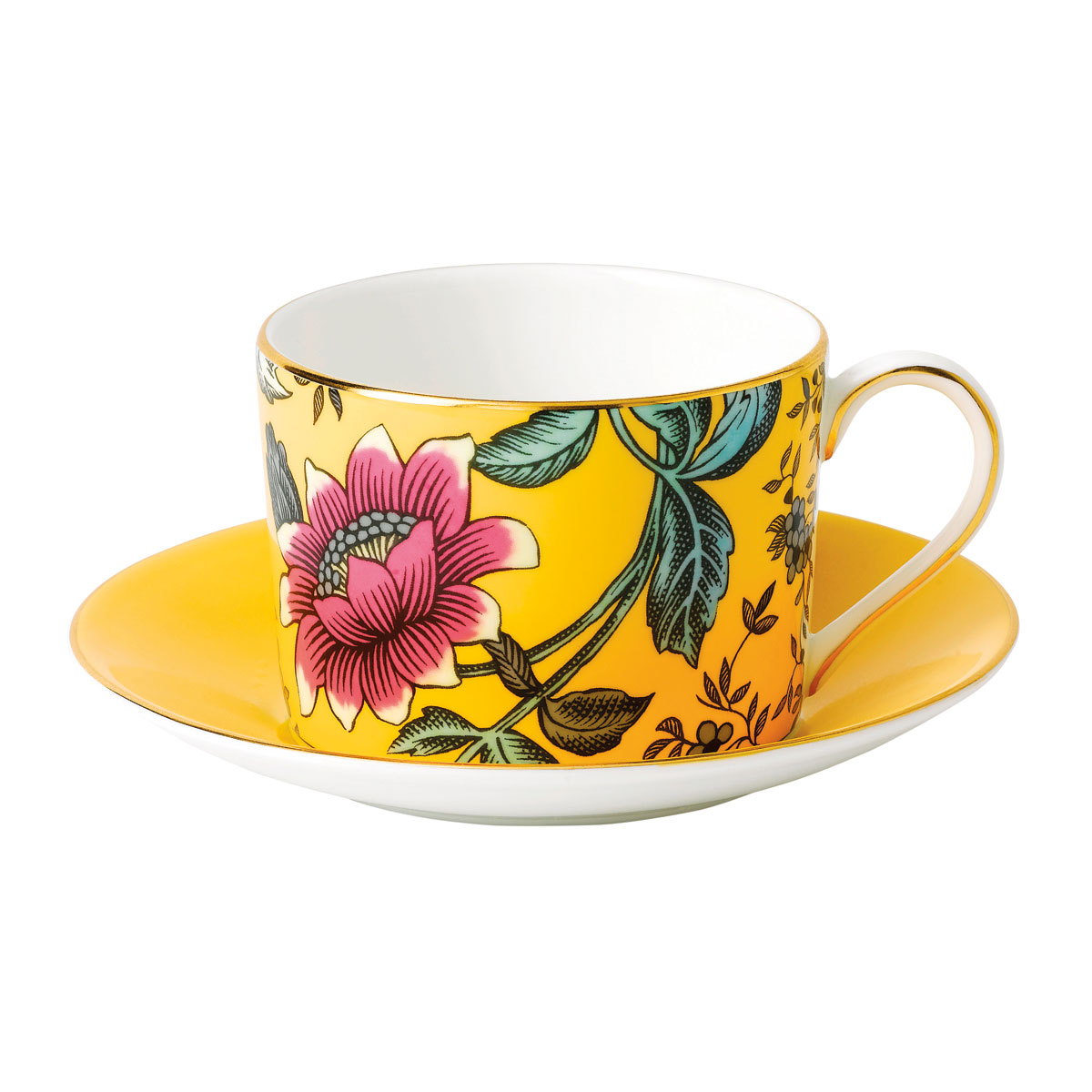 Wedgwood Wonderlust Fine Bone China Teacup and Saucer Set Yellow Tonquin