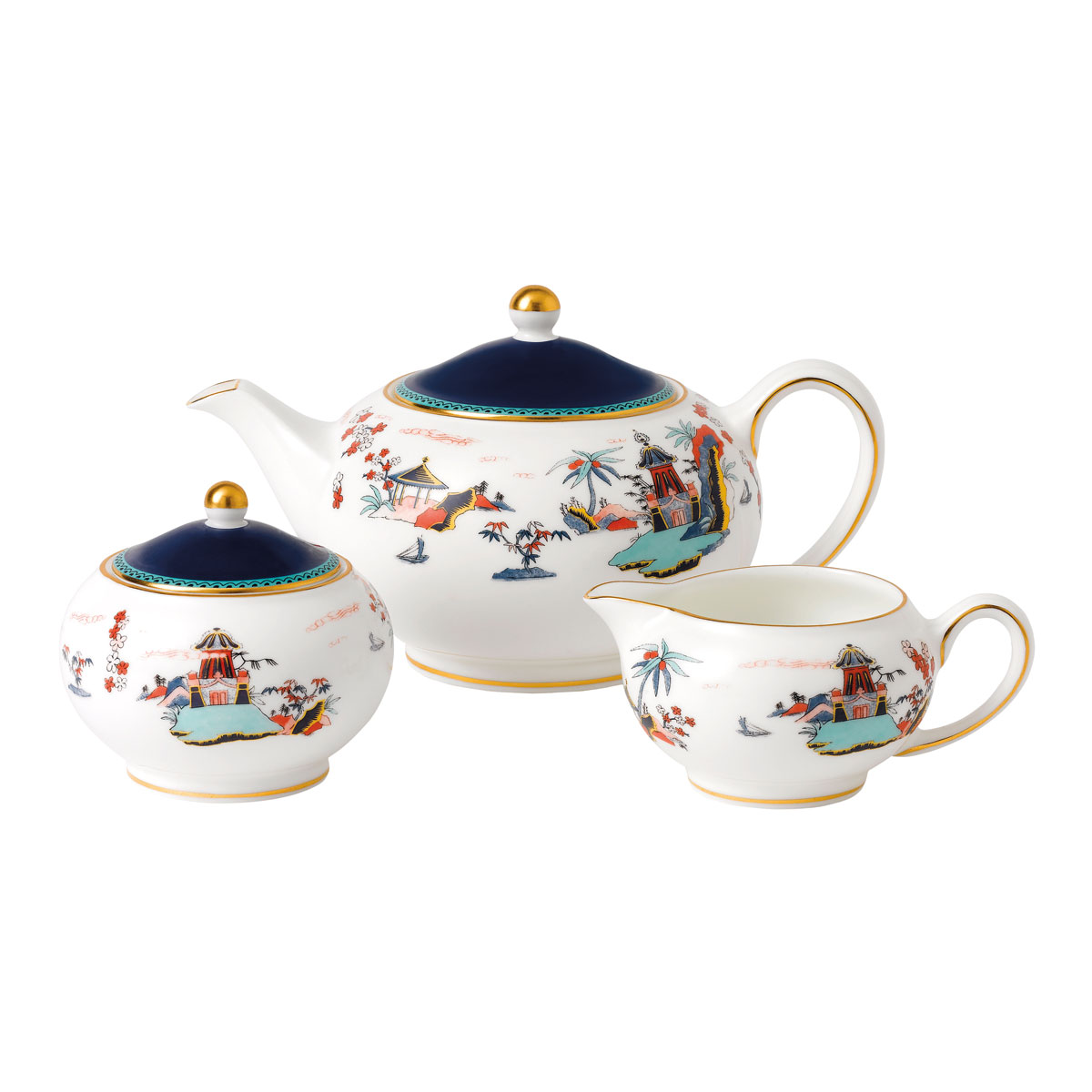 Wedgwood Wonderlust Fine Bone China 3-Piece Teaset S/S (Teapot, Sugar and Creamer) Blue Pagoda