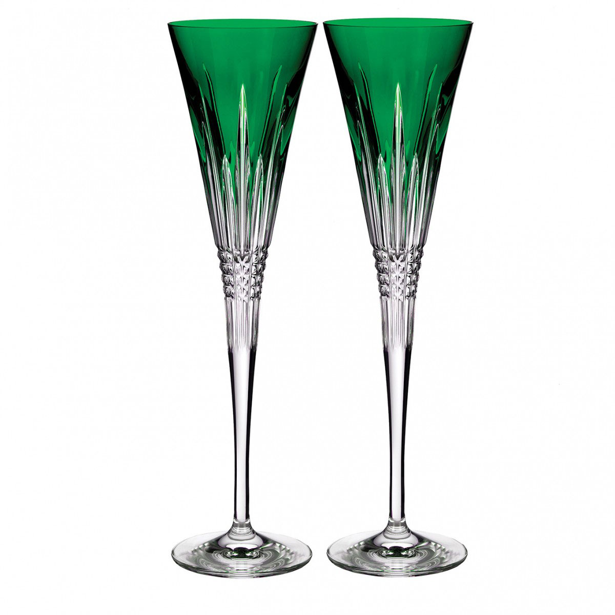 Waterford Crystal Lismore Diamond Emerald Toasting Flute Pair