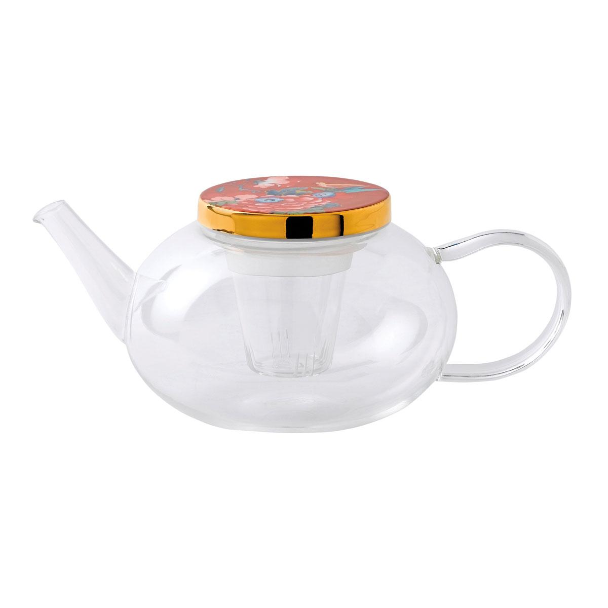 Wedgwood China Paeonia Blush Teapot Glass, With Ceramic Lid