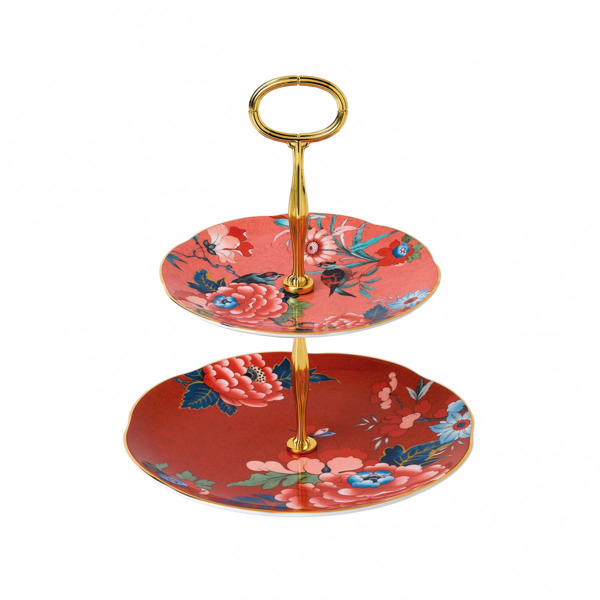 Wedgwood China Paeonia Blush Cake Stand Two Tier, Coral and Red