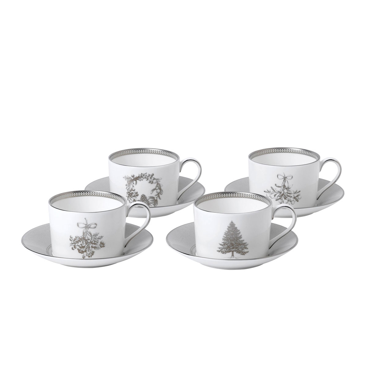 Wedgwood 2019 Winter White Teacup and Saucer Set of Four