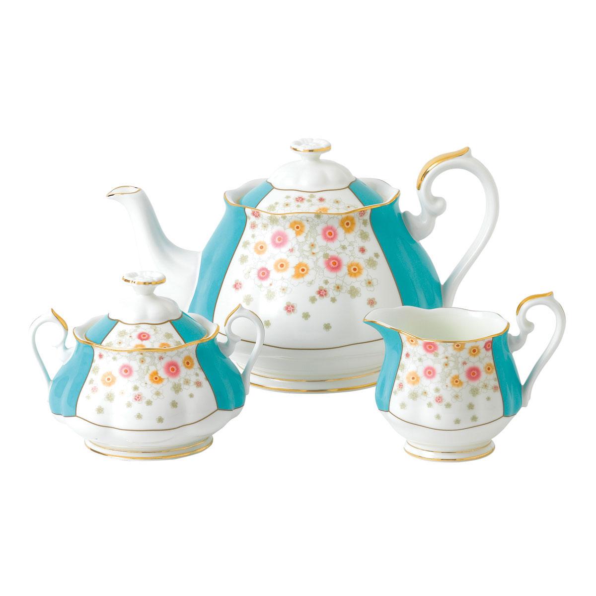 Royal Albert 100 Years 1930 Teapot, Sugar and Creamer Set Mint Deco