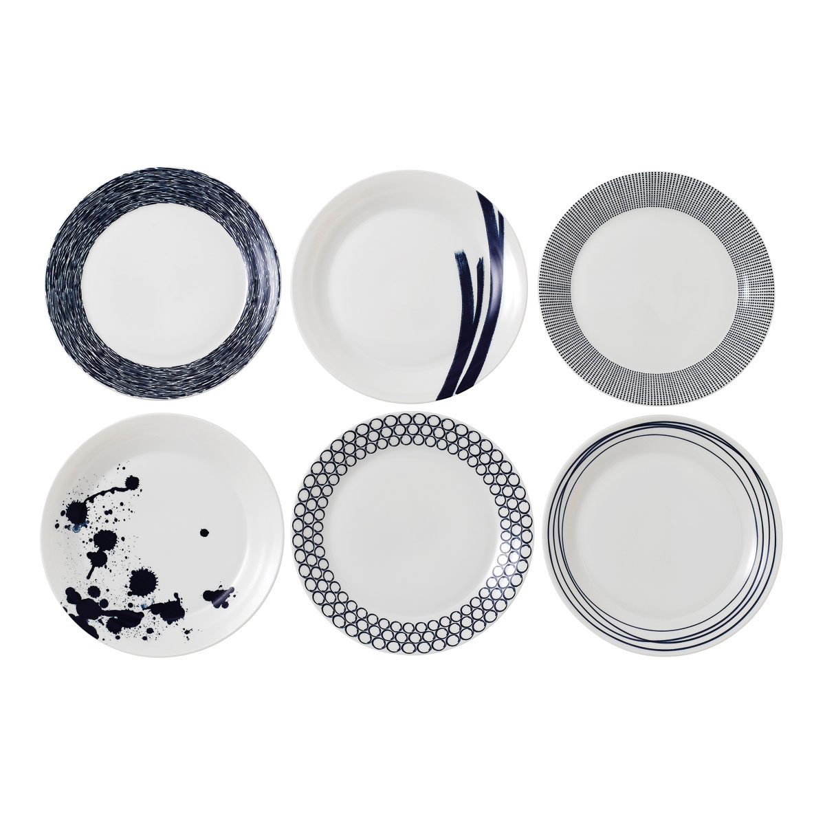 """Royal Doulton Pacific Mixed Patterns Dinner Plate 11"""" Set of 6"""