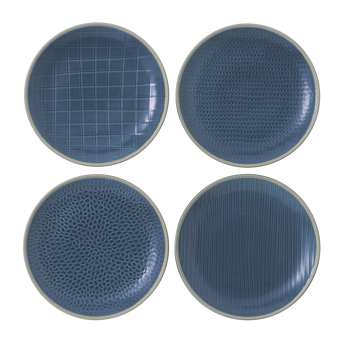 "Royal Doulton Gordon Ramsay Maze Grill Blue Salad Plate 9"" Set of 4 Mixed"