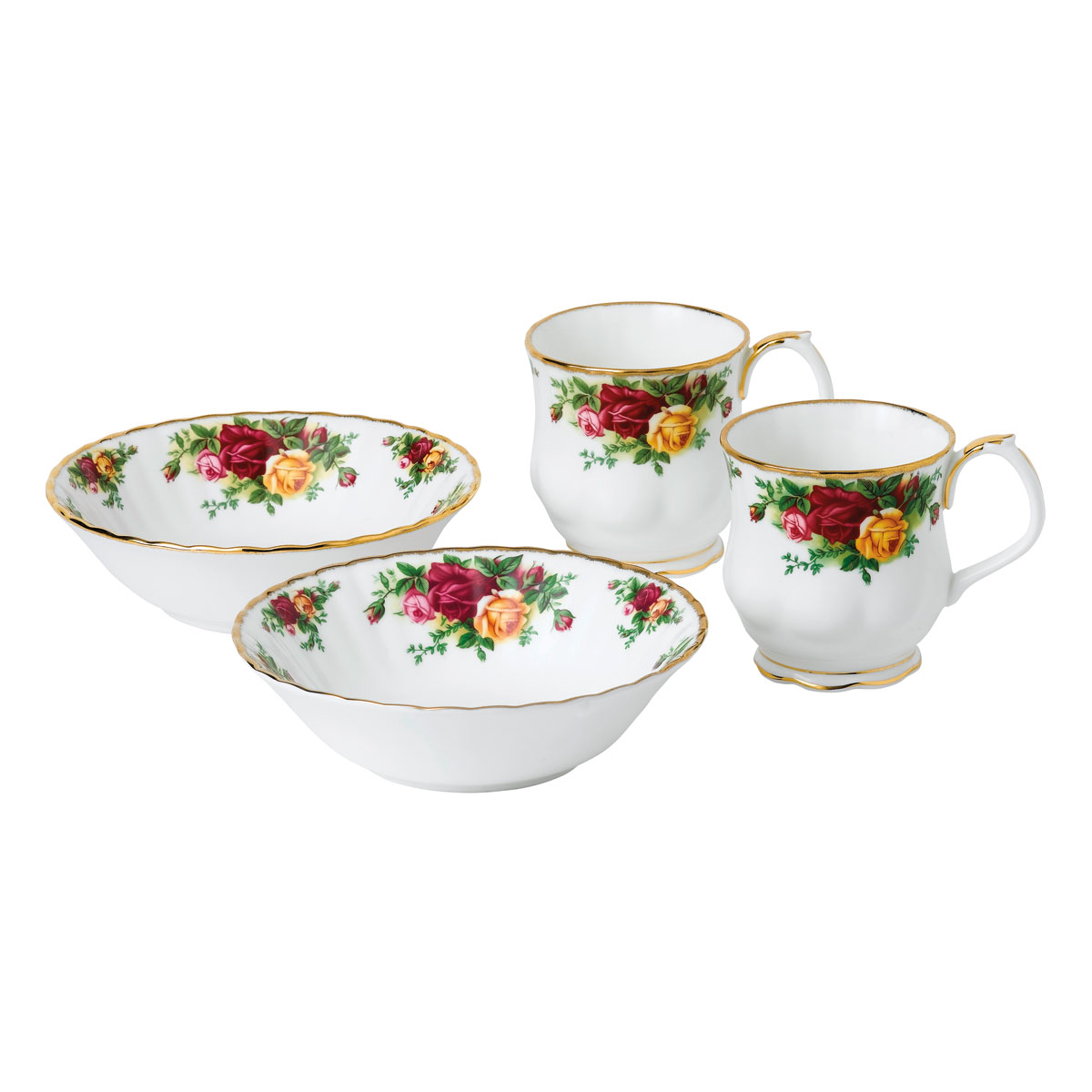 Royal Albert Old Country Roses 4-Piece Breakfast Set, Two Cereal Bowls and Two Montrose Mugs