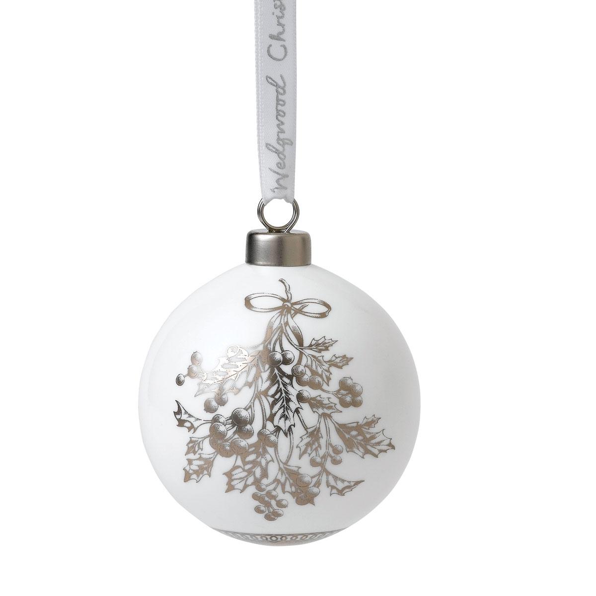 Wedgwood Fine Bone China Holly Christmas Ornament