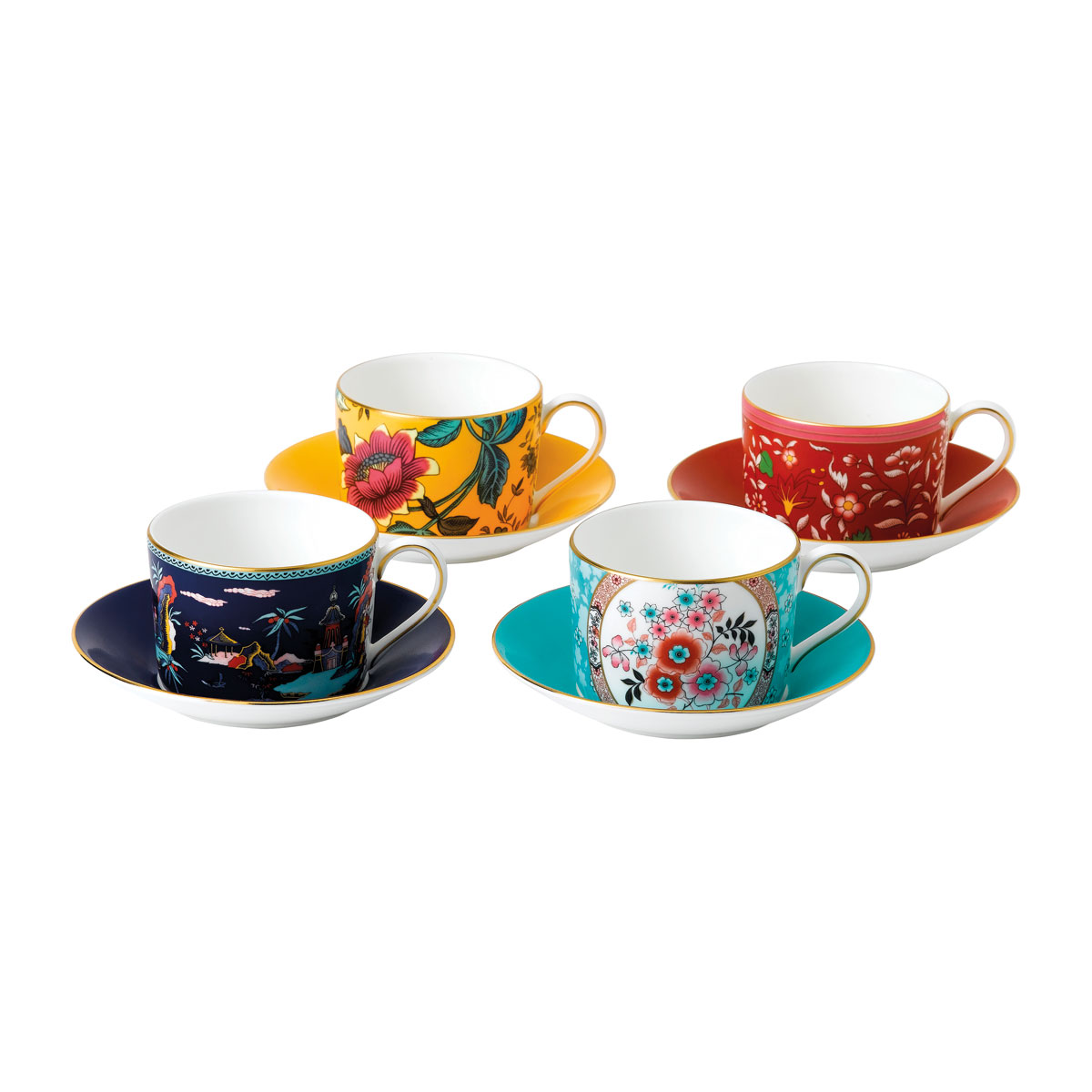 Wedgwood China Wonderlust Teacup and Saucer Set of 4, Blue Pagoda, Camellia, Crimson Jewel and Yellow Tonquin
