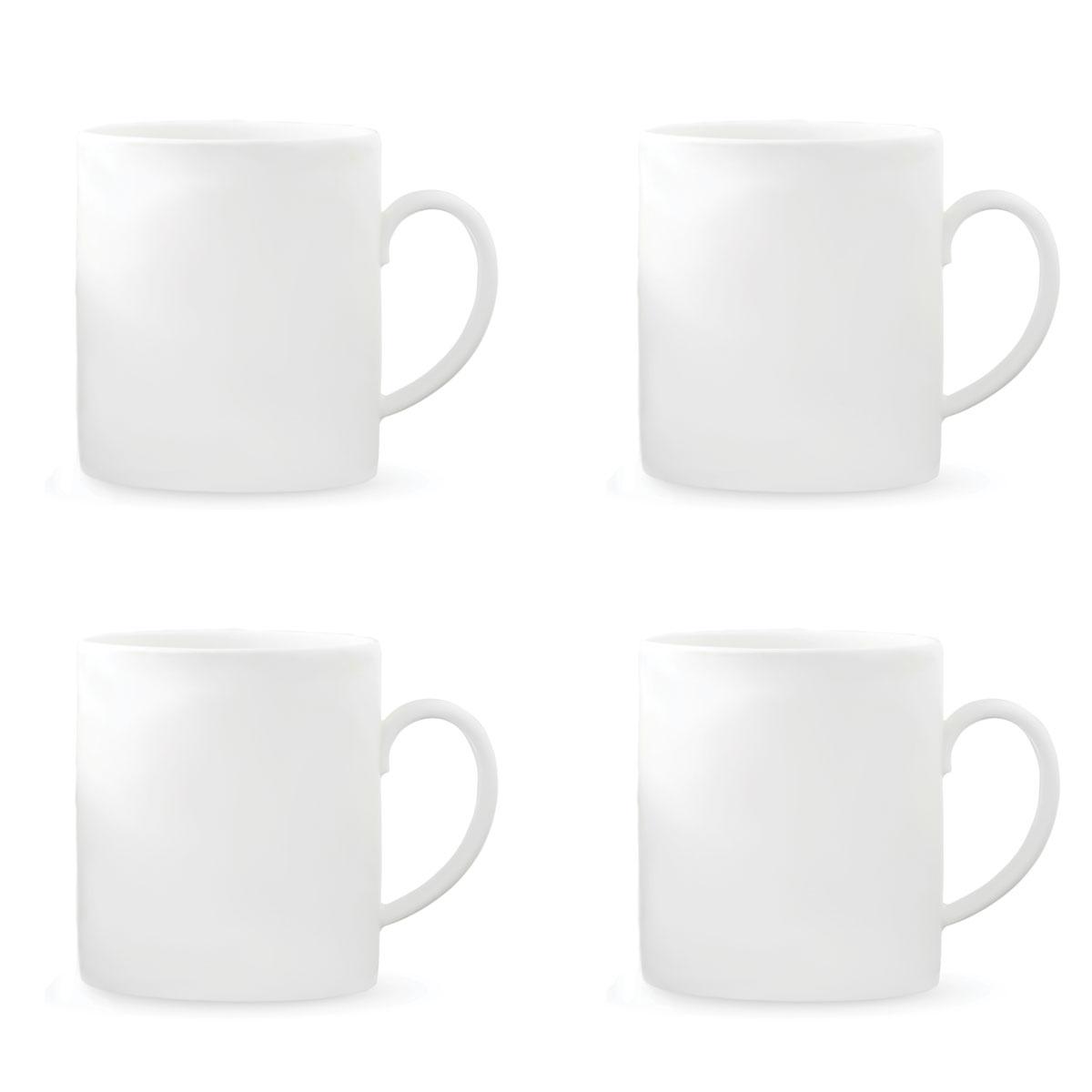 Vera Wang Wedgwood Bone China Perfect White Mug Set of Four
