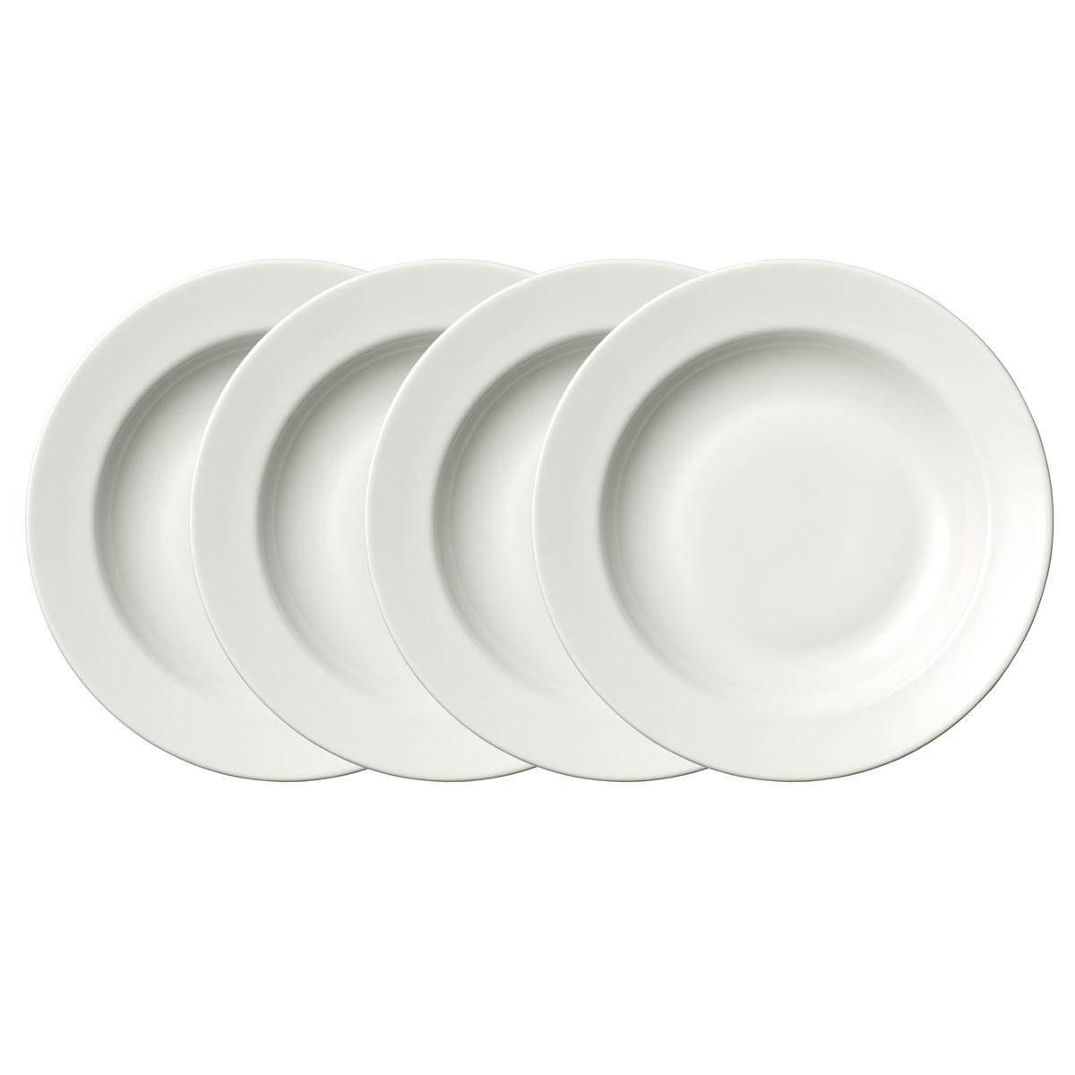 Vera Wang Wedgwood Bone China Perfect White Rim Soup Set of Four