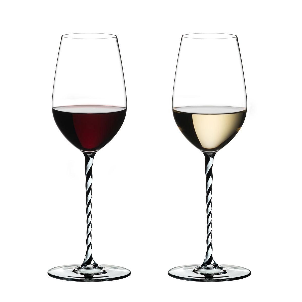 Riedel Fatto A Mano, Riesling, Chardonnay, Black and White Twist Wine Glass