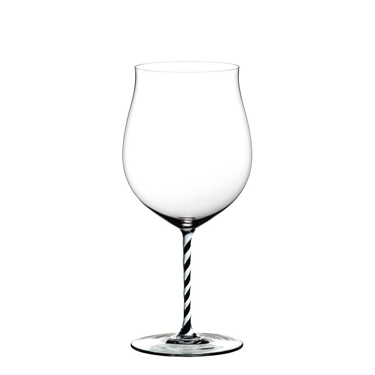 Riedel Fatto A Mano, Burgundy Grand Cru, Black and White Twist Crystal Wine Glass