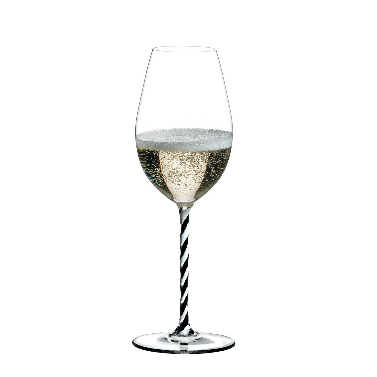 Riedel Fatto A Mano, Champagne Wine Glass, Black and White Twist, Single