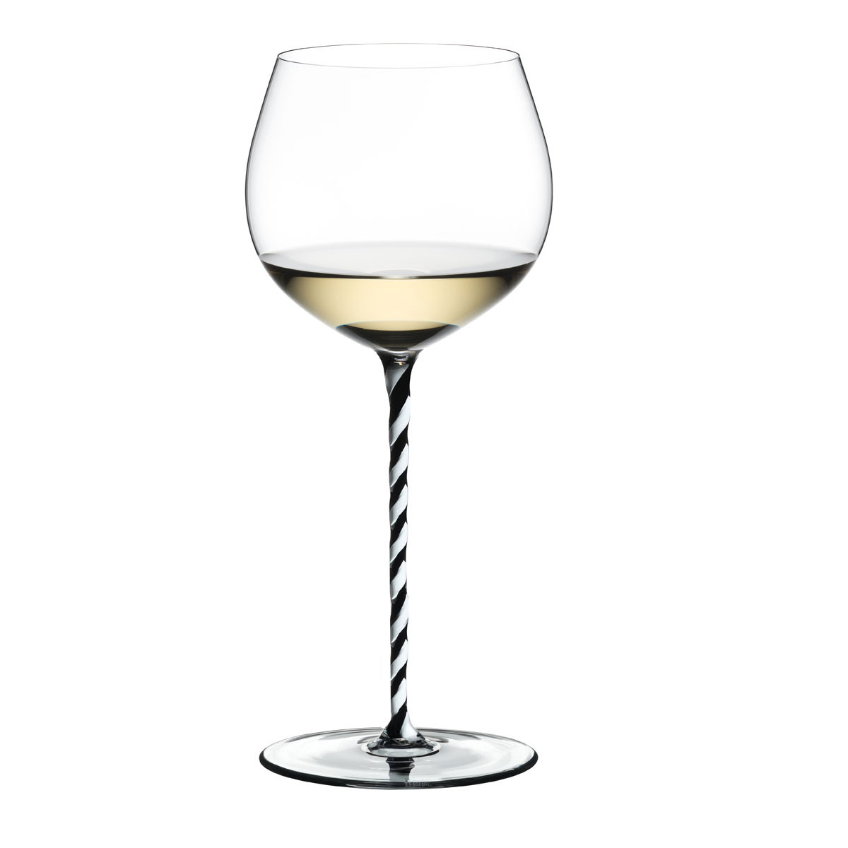 Riedel Fatto A Mano, Oaked Chardonnay, Black and White Twist Wine Glass