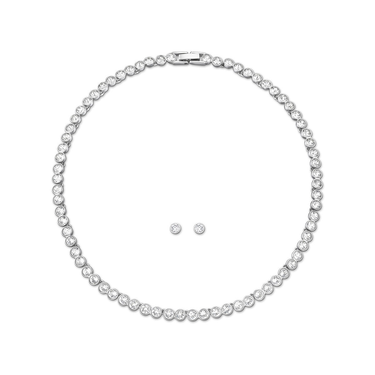 Swarovski Tennis Necklace and Pierced Earring Set, White and Rhodium