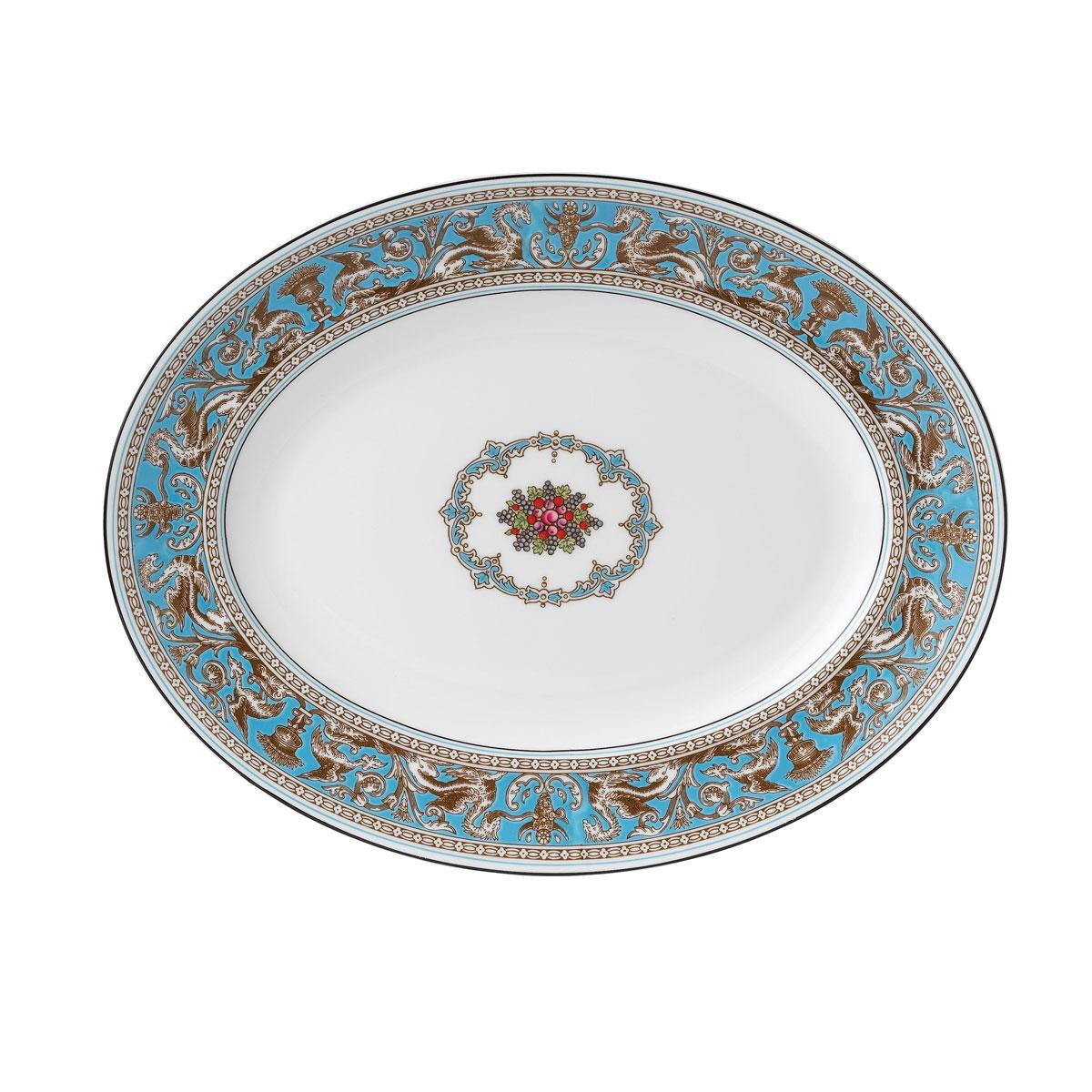 "Wedgwood Florentine Turquoise Oval Platter 13.75"""